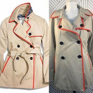Coach Short Leather Trim Trench Coat Khaki Orange